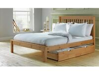 Double bed with solid wood frame