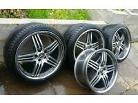 "20"" Mercedes AMG Brabus Style Diamond Cut Staggered Alloys... Fit C E S Class CLK SL"