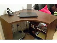 CORNER OFFICE PC COMPUTER WORKSTATION DESK BY NEXT IN WALNUT MAHOGANY WOOD EFFECT