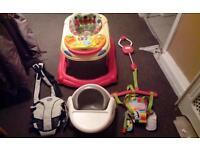 Baby walker,door bouncer and more