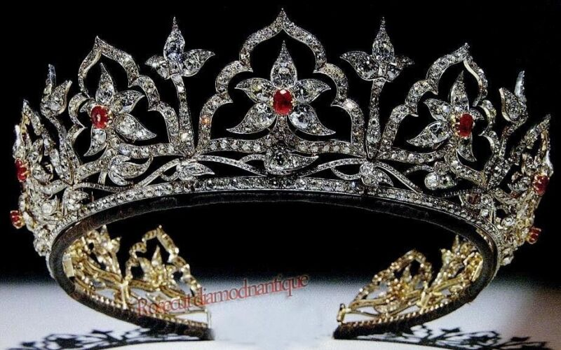 ANTIQUE ROSE CUT DIAMOND 14.38ct SILVER 925 RUBY ANNIVERSARY VINTAGE TIARA CROWN