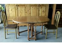 For sale solid pine foldable dinning table with two chairs