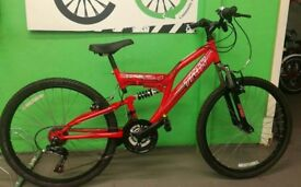 "Red Teens Bike - Trax Full Suspension 18 Speed, 24"" Wheels"