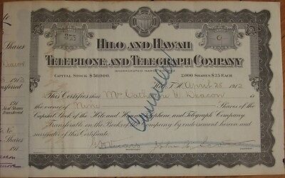 1912 Stock Certificate: 'Hilo & Hawaii Telephone & Telegraph Company' - HI