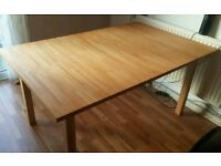 Ikea extending dining table, solid block wood + 4 free chairs