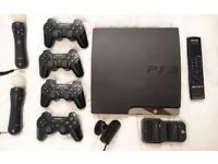 PS3 bundle with 4 controllers, 2 Move controllers, camera, games and cables