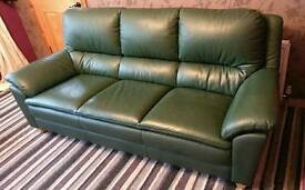 Leather 3 seater sofa and single chair as new