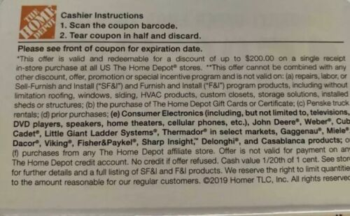 ONE 1X 15 OFF Home Depot Coupon In Store Only Save Up To 200 - $40.00