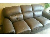 Brown Three Seat Leather Sofa