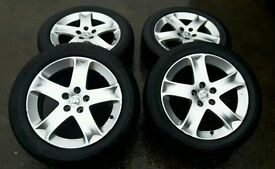 PEUGEOT ALLOYS WITH TYRES 215/55/17