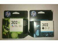 HP ink cartridges 302 XL tri-colour + black