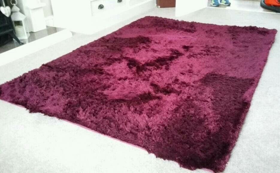 Next Plum Coloured Fine Sparkle Rug Measures 120x170 Cm