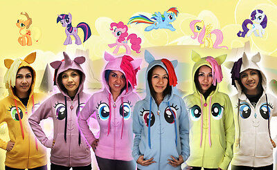 Juniors Brony MLP My Little Pony Friendship Magic Face Mane Wings Costume Hoodie