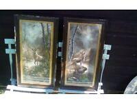 Vintage framed stag prints