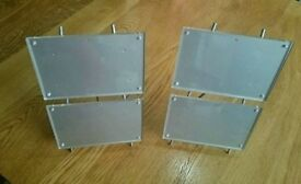 Pair of modern magnetic double photo frames, silver brushed chrome size 6x4