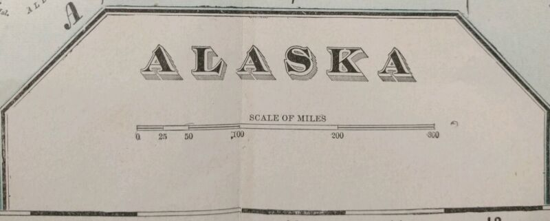 "Vintage 1900 ALASKA TERRITORY Map 22""x14"" ~ Old Antique Original JUNEAU NOME"