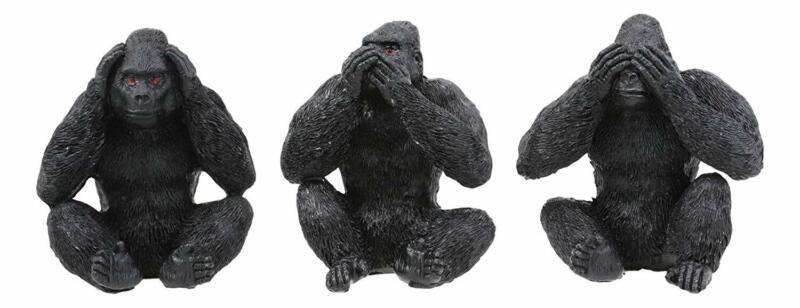 """Ebros See Hear Speak No Evil Silverback Gorillas Figurine 3"""" Height Set of 3"""