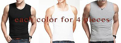 Lot Of 12 Mens Tank Top 100% Cotton A-Shirt Lot Wife Beater Ribbed Undershirt XL
