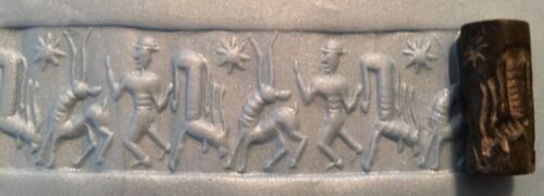 Ancient Near Eastern black stone cylinder seal