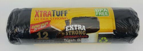 12 COUNT 26 GALLON TRASH BAG BLACK ROLL BPA FREE EXTRA STRONG