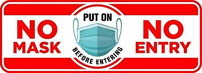 Warning Face Mask Required No Mask No Entry 8 X 3 Uv Laminated Window Decal