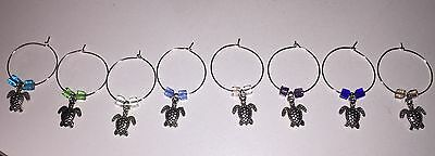 Set Of Eight Wine Glass Marker Charms Seaturtles