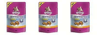 3x Whiskas - Dentabites with Chicken - Cat Treats (3 x 50g Packs)