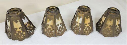 Set of 4 Arts & Crafts Slag Glass Shades