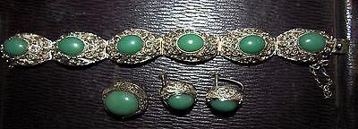 antique chinese jade & sterling silver filigree bracelet pin & earrings set