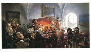 POSTCARD-Unexpected-Party-HOBBIT-Bilbo-Baggins-John-Howe-Artist-1994-Art-Tolkien