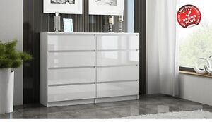 MODERN LARGE WHITE 140CM CHEST OF 8 DRAWERS 4+4 HIGH GLOSS FRONT M8HG