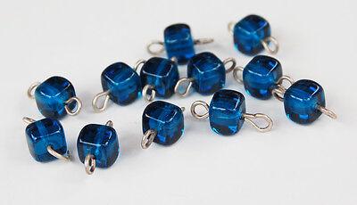 12 CAPRI BLUE GLASS CONNECTOR BEADS SQUARE • 6mm • SILVER HARDWARE