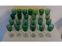 25 ANTIQUE HAND BLOWN WINE GLASSES, GREEN