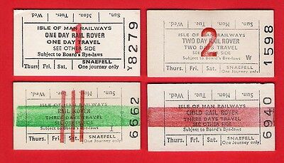 4 Isle of Man Tickets ~ Rail Rovers - 1 2 3 Days - Steam MER & Snaefell Railways