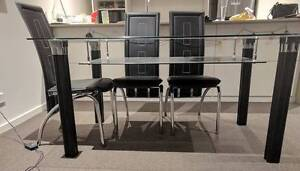 Beautiful glass top dining table including 6 dining chairs Macquarie Park Ryde Area Preview