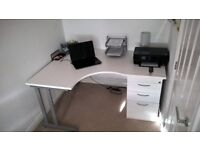 Large White Corner Desk Station