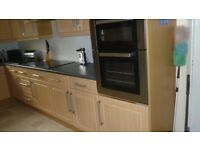 Beech Kitchen units, oven and extractor fan