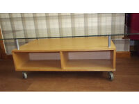 LARGE GLASS TOPPED COFFEE TABLE with storage underneath