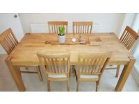 LARGE - real OAK Dining table, with luxury oak 6 chairs
