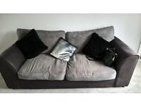 2 seater sofa grey fabric
