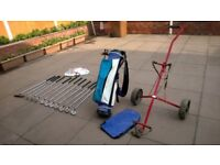 Set Of Golf Clubs + Storage Bag + Trolley + Golf Balls