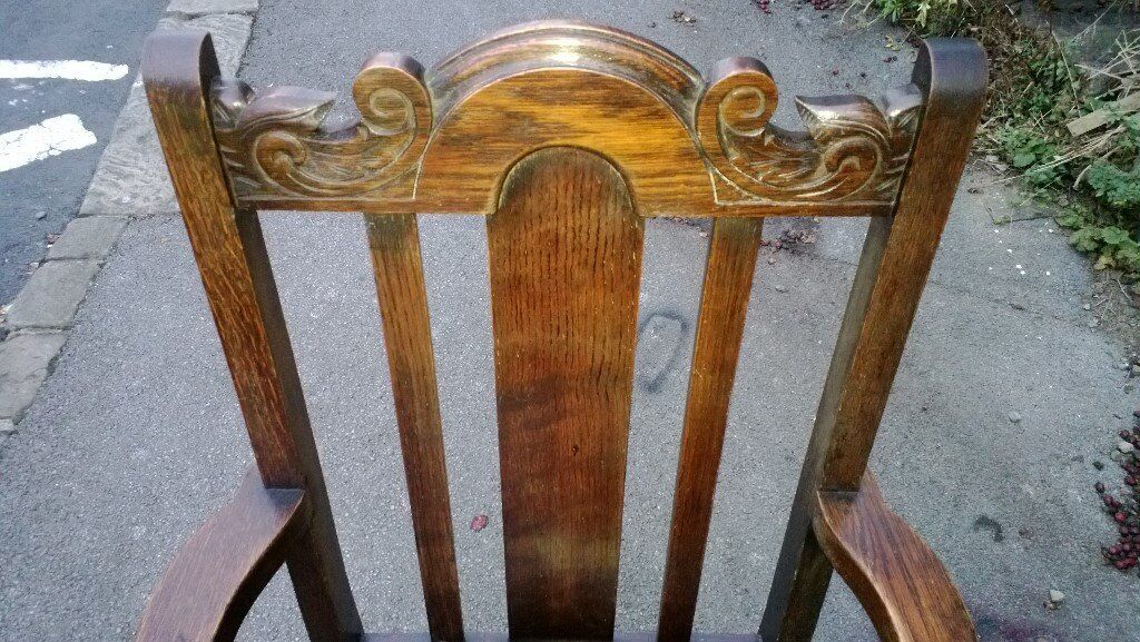 Hall Chair 19th Century Oak Carved Leather Seat Large