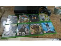 X BOX ONE CONSOLE WITH 2 CONTROLLERS AND 10 GAMES