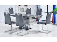 Zia High Gloss Grey Extending Dining Set with 6 Chairs BRAND NEW