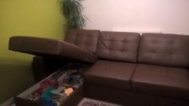 Excellent Condition Brown Corner Sofa with Storage and ability to turn into Sofa bed