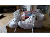 Cream palladium boots size 4