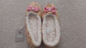 Sainsbury's Womens Pink Slippers (New with tags) Size 5
