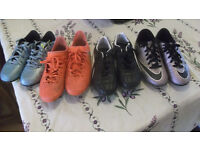 4 PAIRS OF FOOTBALL TRAINERS , SELL TOGETHER OR SEPARATELY, AS NEW, ALL BRAND.