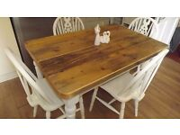 "1200mm X 780MM (4'X 2' 6"") Shabby Chic Reclaimed Pine Table & Wheelback Chairs (Farrow & Ball)"