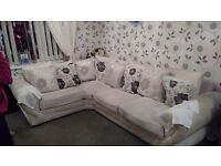 Cream corner sofa with rotating chair good condition £350 pick up only
